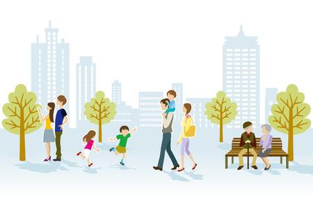banc de parc: Les gens dans le parc urbain Illustration