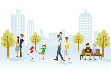 People in Urban park Illustration