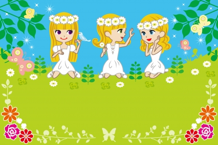Three little girls in spring nature -EPS10 file Stock Vector - 24561337