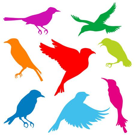 小さな鳥シルエット セット 写真素材 - 24932777