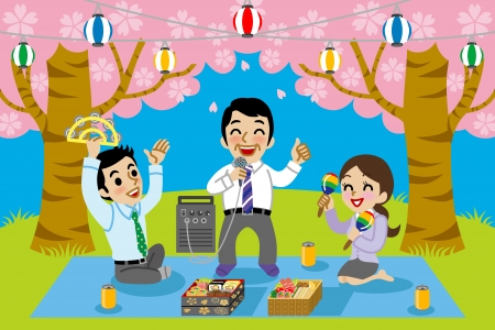 outdoor dining: Karaoke in cherry blossom viewing