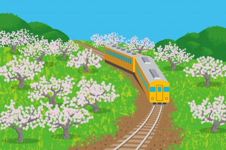 Spring Train Stock Vector - 24932826