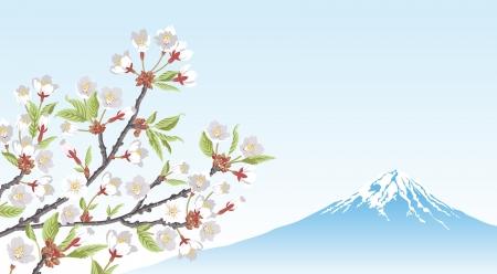 Mt Fuji and Cherry Blossom branch Illustration