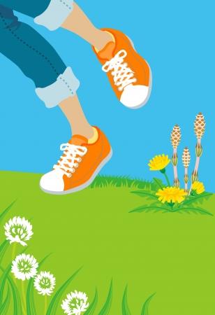 symbolic: Spring step Illustration