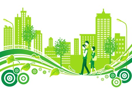 Family in City Life, Environment Illustration