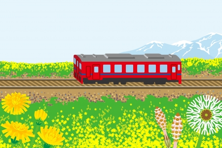 non urban scene: Red train in spring nature Illustration