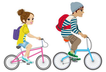 若いカップル分離した自転車に乗って、