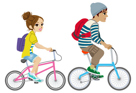 Young couple riding Bicycle, Isolated Stock Illustratie