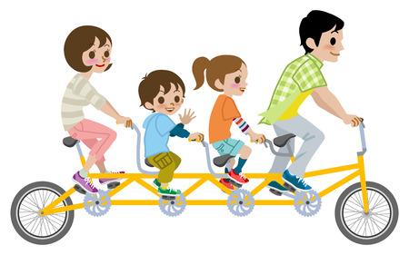 타고 가족 탠덤 자전거, 절연 스톡 콘텐츠 - 26041201