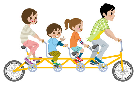 Family riding Tandem Bicycle, Isolated Illustration