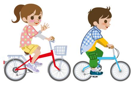 고립 된 자전거를 타고 두 아이 스톡 콘텐츠 - 26041203