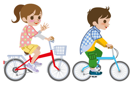 Two kids riding Bicycle, Isolated Illustration