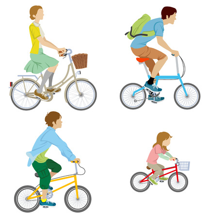 Various people riding Bicycle, Isolated Stock Illustratie