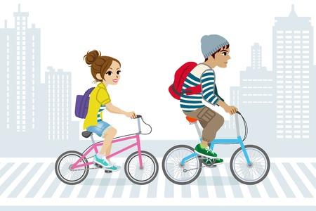 カップルは都市生活の中で、自転車で通勤します。  イラスト・ベクター素材