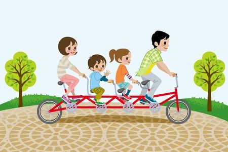 salud y deporte: Familia que monta bicicleta en t�ndem, en el parque