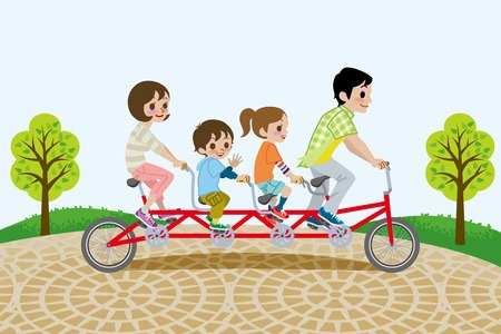 Family riding Tandem Bicycle, in the park