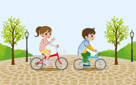 Two kids riding Bicycle, in the park Vector