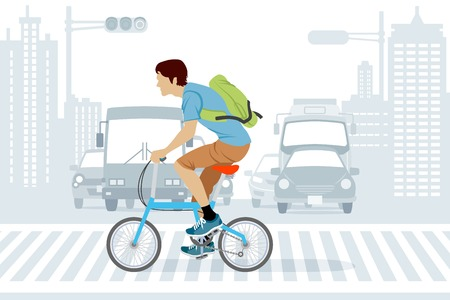 男ラッシュアワーで自転車に乗って