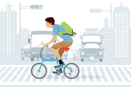 paso de peatones: Hombre montado en bicicleta en hora punta Vectores
