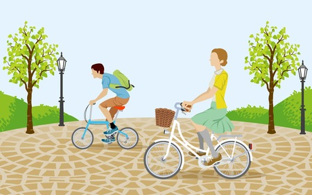 People riding bicycle in the park