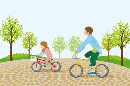 Children riding bicycle in the park Vector