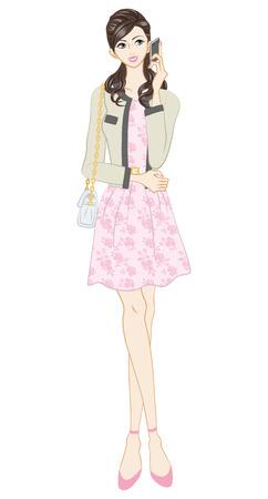 pink dress: Women fashion, Feminine Style, Full Length