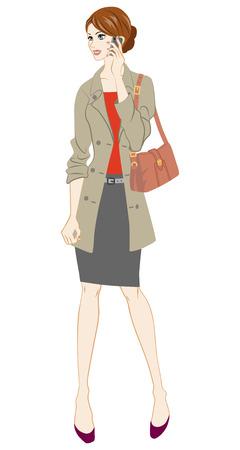 businesswoman skirt: Business women holding smart phone,Full Length