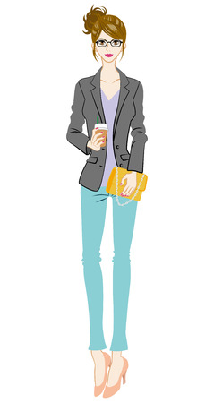 Women fashion, intellectual, Full Length Vector