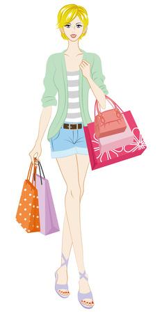 white pants: Blond shopper Illustration