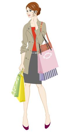 businesswoman skirt: Shopping woman holding smart phone Illustration