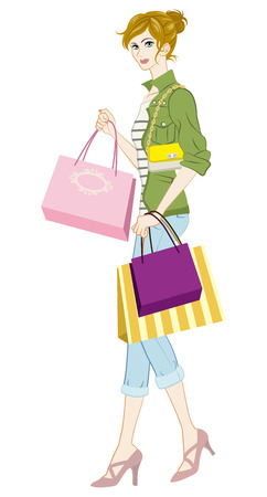 casual fashion: Shopping girl, Casual fashion Illustration