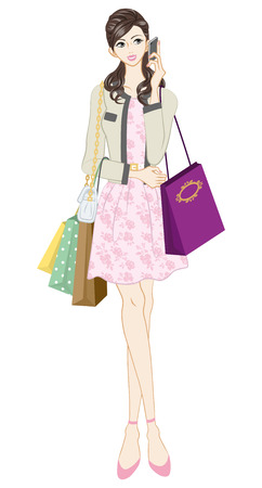 pink dress: Shopping woman, Feminine Fashion Illustration