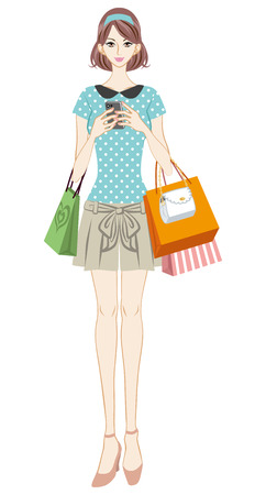 Shopping girl checking smart phone Vector