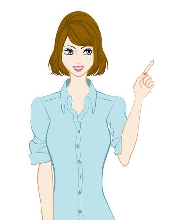 Bobbed hair women, Pointing Illustration