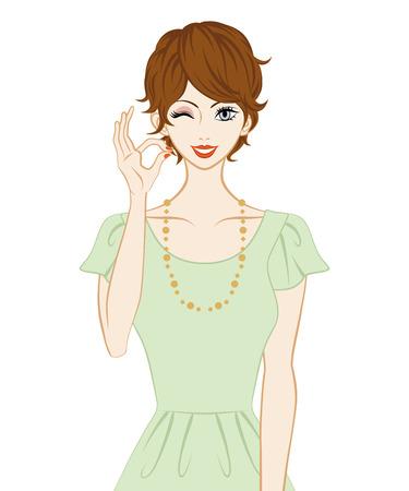 Las mujeres de pelo corto, Gesto de OK Ilustración de vector