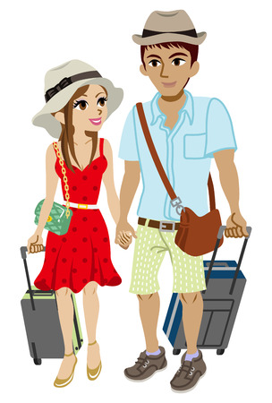 sundress: Young couple traveller, Isolated Illustration