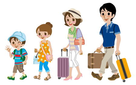 suitcase packing: Family traveller, Isolated