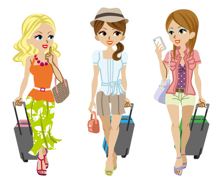 suitcase packing: Three girls traveller,Isolated