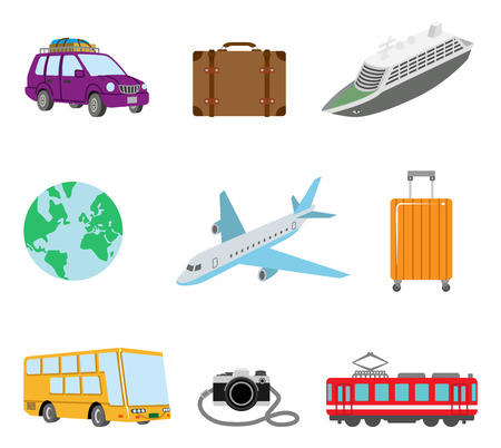 tour bus: Travel and transportation icons Illustration