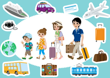 Travel set ,Family Vector