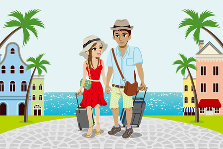 Reisen Paar in der Stadt am Meer Vektorgrafik