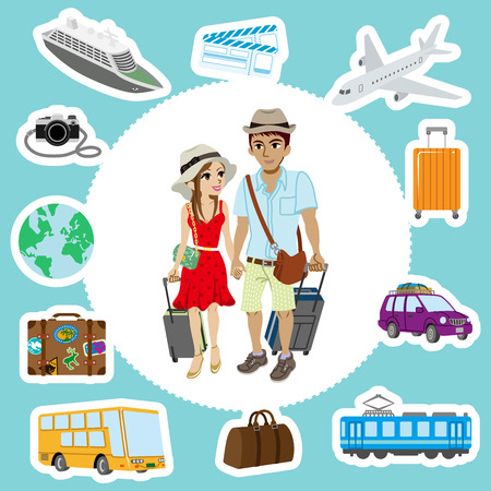 Travel set ,Couple Vector