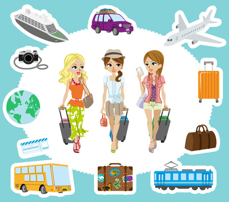 Travel set , Three Girls Vector