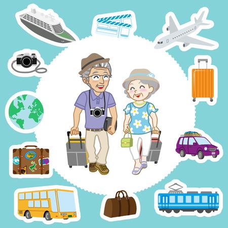 Travel set ,Senior Couple Vector