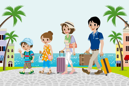 Traveling family in Seaside town