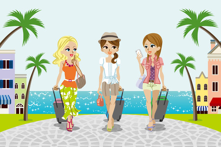 three palm trees: Traveling girls in Seaside town