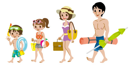 Family wearing Swimwear, Isolated Çizim