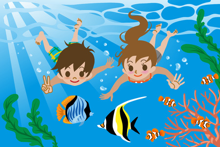 Kids swimming underwater Vector