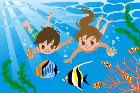 seawater: Kids swimming underwater Illustration