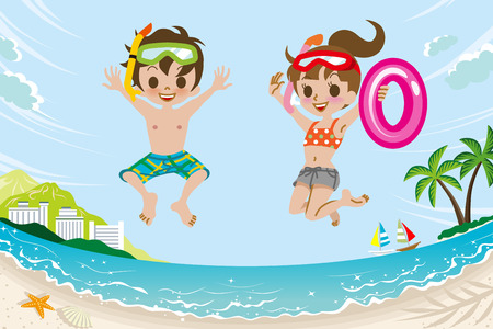 Jumping Kids in Summer Beach 矢量图像